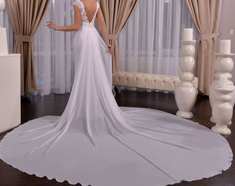 Wanda - Nuage Volant Sheath Chiffon Lace Wedding Dress / Chapel Train / Open Back /Poshfair