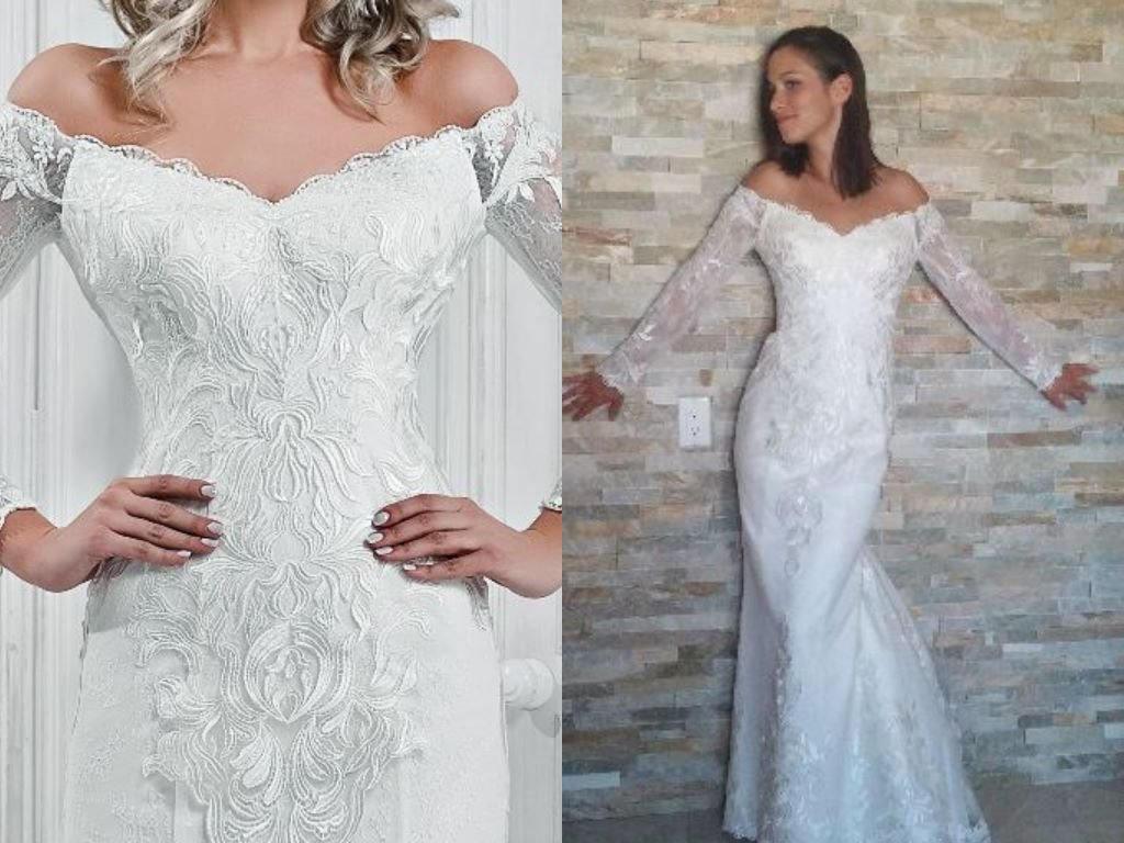 Mina Nuage Volant Satin Lace Sheath Wedding Dress Off Etsy