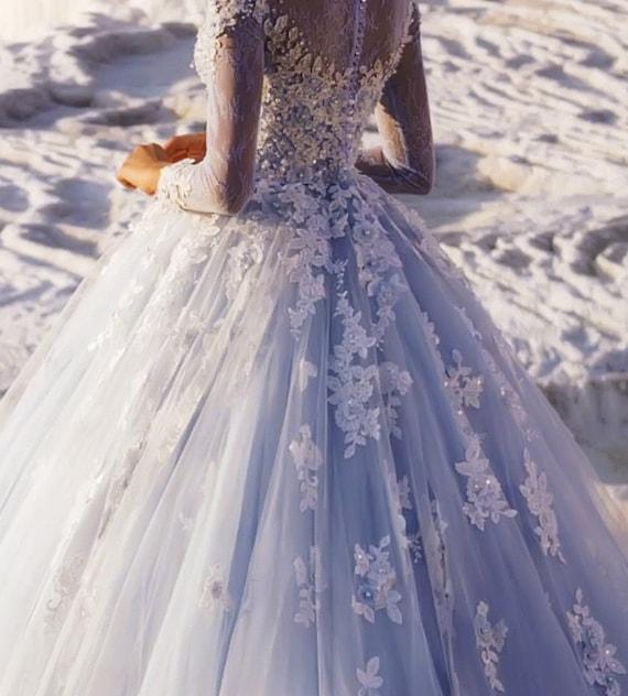Chantal Light Blue 3d Lace Ball Suknia ślubnalong Rękawperły Etsy