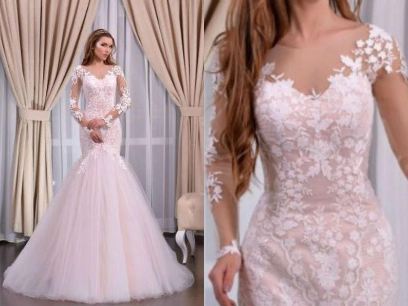 Soft Pink with Open Back Mermaid Wedding Dress