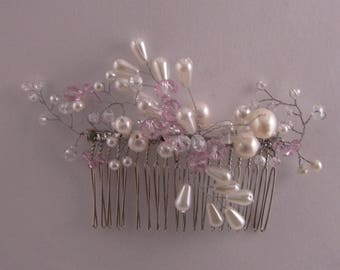 NEW - Bridal Comb with Swarovski Crystals Beads and Freshwater Pearls