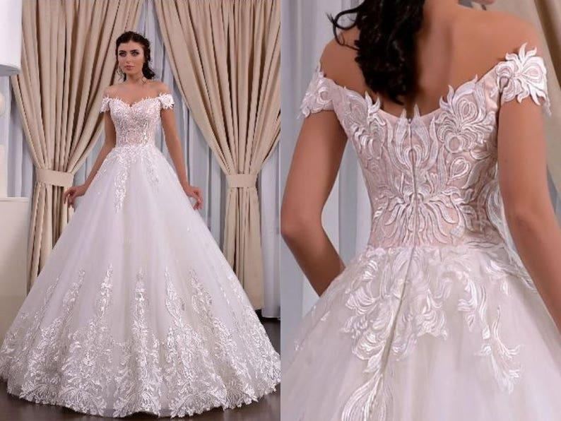 Cordelia Couture Satin A Line Lace Wedding Dress Off shoulder Poshfair