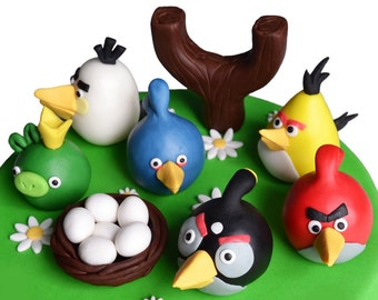 Angry Birds cake topper set