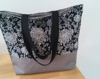Women Handmade, Beach Bag, Beach Tote Bag, Personalized Bag, Teacher's Bag, diapers Bag, Shopping Bag with Beautiful flowers Cotton Canvas.