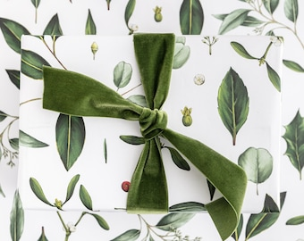 Christmas Wrapping Paper - Luxury Eco Gift Wrap - Greenery