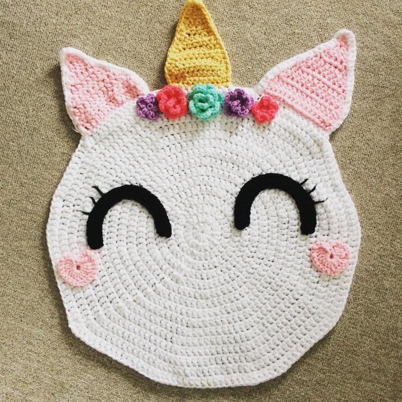 Made To Order Tapis Licorne Au Crochet Etsy