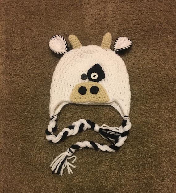 3e9910594b3 Crochet Cow Hat Winter Hat Cow Earflap Hat Beanie