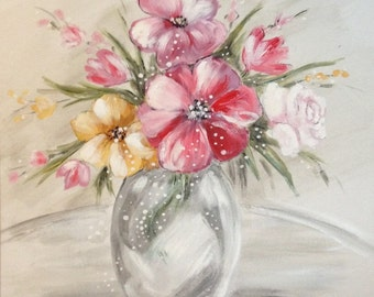 Pink flower painting etsy pink flower painting canvas print mightylinksfo