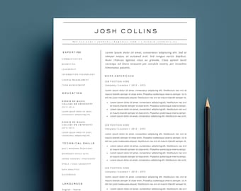 "4-Page Resume and Cover Letter Template for MS Word - The ""COLLINS"""