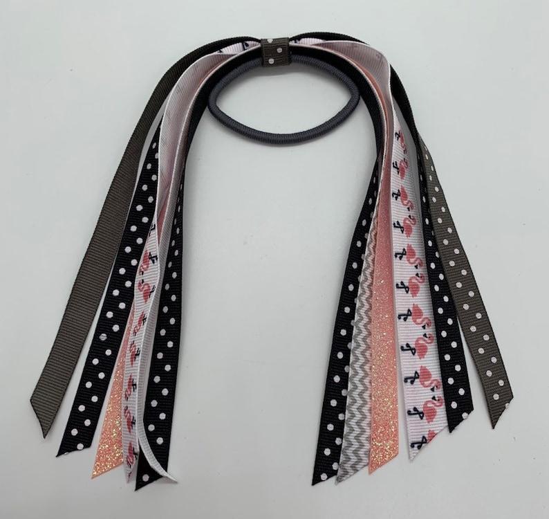 Flamingo Bow Ponytail Holder Hair Streamer Hair Ribbon Ponytail Streamer Gray Chevron Hair Tie Flamingo Hair Streamer