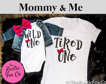 Wild One Birthday Party First Girl 1st Bodysuit Mommy And Me Outfit Custom Tee
