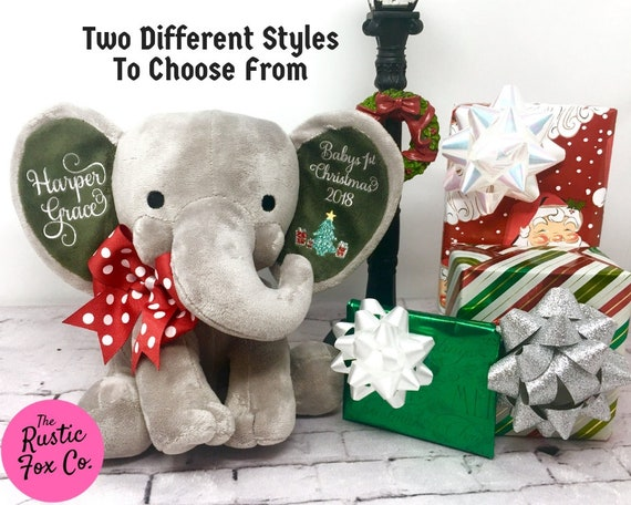 Baby S Personalized First Christmas Gift Stuffed Elephant Etsy