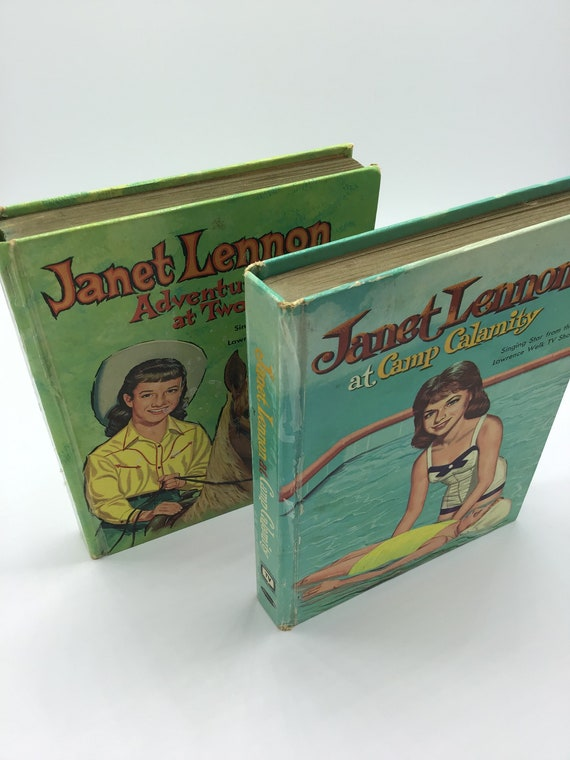 Set of two Janet Lennon Vintage Books; Adventure at Two Rivers and Camp Calamity by Janet Lennon