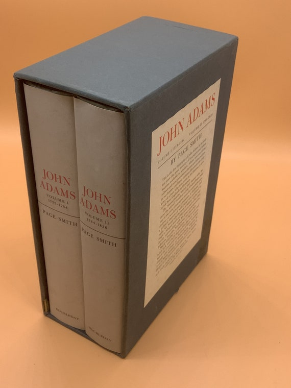 John Adams by Page Smith Two Volume Set Hardcovers in Slipcase DoubleDay 1962