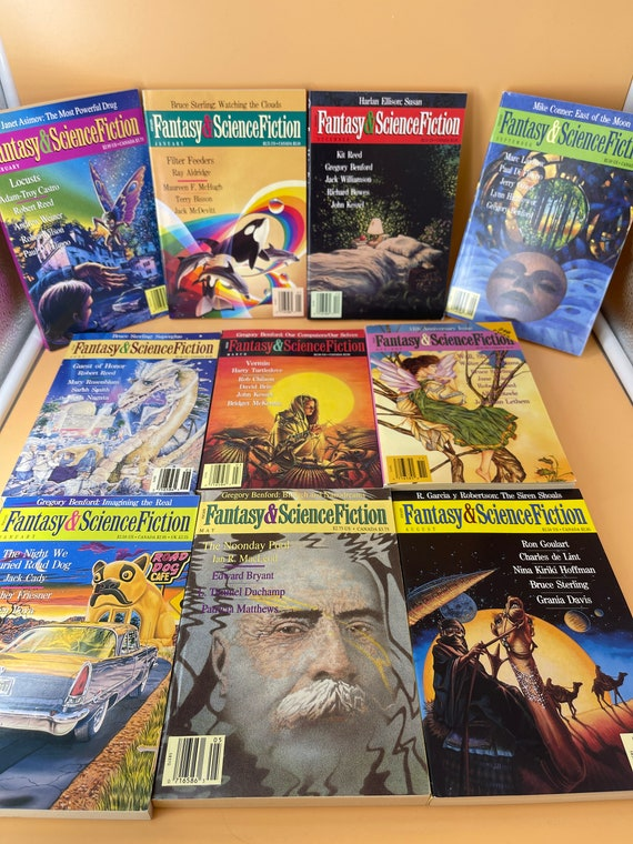 Set of 10 Fantasy & Science Fiction Magazine paperbacks vintage collectible from the 1990's (Set 2)