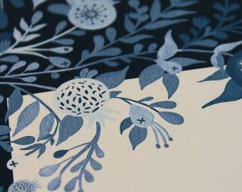 Rimon vintage Ketubah - Interfaith Marriage Contract, Custom handmade Hebrew English Ketubah, nature ketubah, blue ketubah