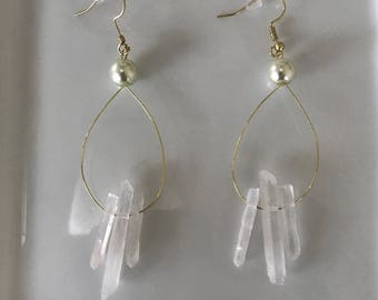 Crystal and Gold Handmade Earrings with Pearl Accent