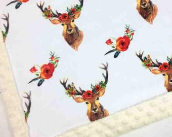 Baby minky blanket, floral deer blanket,  girl blanket, antlers woodland blanket, cuddle blanket, baby shower gift, birth gift, adult size
