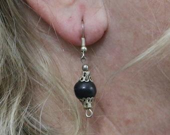 Made in Nepal - Eclectic Earring - Bohemian Earring - Yak Bone Earring - Yak Bone with Silver Design