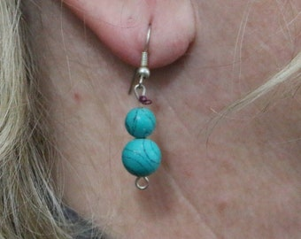 Made in Nepal - Eclectic Earring - Bohemian Earring - Stone Earring - Turquoise Beads