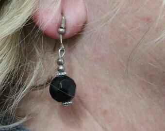 Made in Nepal - Eclectic Earring - Bohemian Earring - Resin Earring - Black Geometric Plastic Beads