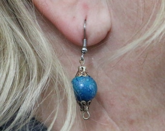 Made in Nepal - Eclectic Earring - Bohemian Earring - Resin Earring - Blue Ball with Design