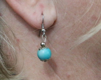 Made in Nepal - Eclectic Earring - Bohemian Earring - Stone and  Earring - Turquoise Single Ball