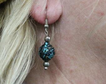 Made in Nepal - Eclectic Earring - Bohemian Earring - Resin Earring - Black Rose Plastic Beads