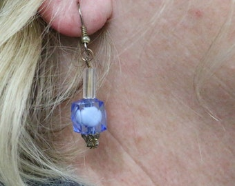 Made in Nepal - Eclectic Earring - Bohemian Earring - Resin  Earring - Light Blue Plastic Beads