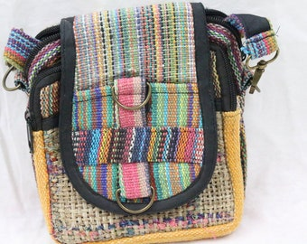 Made in Nepal - Bag - Hemp and  Passport - All Natural Hemp Multicolor Cross Front