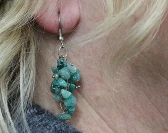 Made in Nepal - Eclectic Earring - Bohemian Earring - Stone Earring - Green Multi Stone Dangles