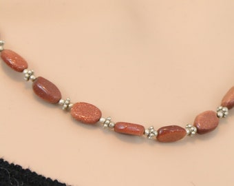 Made in Nepal - Tibetan Necklace - Bohemian Stone and  Necklace - Goldstone and Tibetan Silver