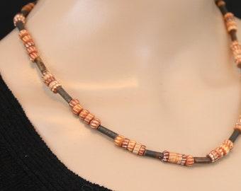 Made in Nepal - Tibetan Necklace - Bohemian Yak Bone Necklace - Yak Bone - Orange