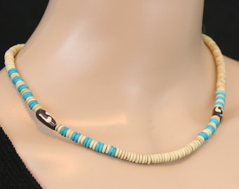 Made in Nepal - Tibetan Necklace - Bohemian Yak Bone Necklace - Natural and Blue