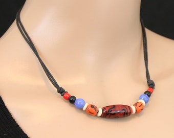 Made in Nepal - Tibetan Necklace - Bohemian Glass and Black Cord Necklace - Glass Long Bead - Brown
