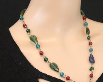 Made in Nepal - Tibetan Necklace - Bohemian Glass and  Necklace - Antique Glass Beads