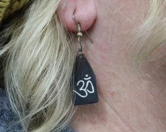 Made in Nepal - Eclectic Earring - Bohemian Earring - Yak Bone Earring - Yak Bone Traditional Om