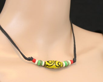 Made in Nepal - Tibetan Necklace - Bohemian Glass and Black Cord Necklace - Glass Long Bead - Yellow