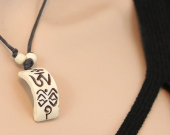 Made in Nepal - Yak Bone Necklace - Black Cord Necklace - Tibetan - Slight Curved Design