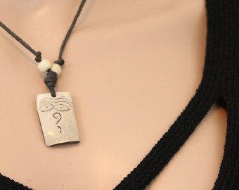 Made in Nepal - Yak Bone Necklace - Black Cord Necklace - Tibetan - Rectangle Buddha