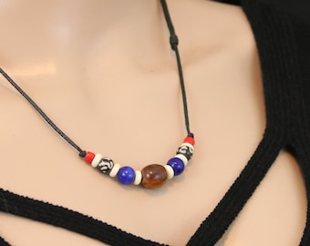 Made in Nepal - Tibetan Necklace - Bohemian Glass and Black Cord Necklace - Stone and Bead  - Skull or Beads