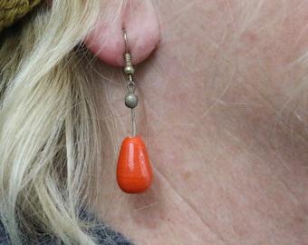 Made in Nepal - Eclectic Earring - Bohemian Earring - Glass Earring - Orange Teardrop Glass Beads