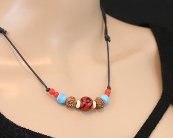Made in Nepal - Tibetan Necklace - Bohemian Glass and Black Cord Necklace - Glass Bead - Brown