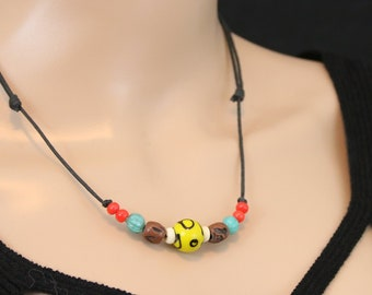 Made in Nepal - Tibetan Necklace - Bohemian Glass and Black Cord Necklace - Glass Bead - Yellow