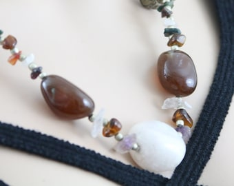 Made in Nepal - Jewelry - Stone and Bead Necklace - Multi-color Stone