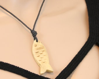 Made in Nepal - Yak Bone Necklace - Black Cord Necklace - Tibetan - Carved Fish