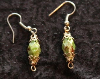 Made in Nepal - Eclectic Earring - Bohemian Earring - Resin Earring - Green Plastic Beads