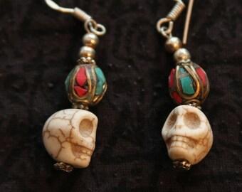 Made in Nepal - Eclectic Earring - Bohemian Earring - Yak Bone Earring - Copper Bead and Yak Bone Skull