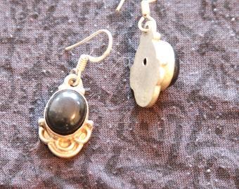 Made in Nepal - Eclectic Earring - Bohemian Earring - Stone Earring - Black Onyx Gemstone and Silver
