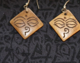 Made in Nepal - Eclectic Earring - Bohemian Earring - Yak Bone Earring - Yak Bone Diamond Buddha